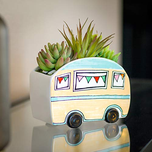 PINE AND PAINT LLC Artificial Green Succulents Plant Gift in Ceramic Camper Trailer Planter