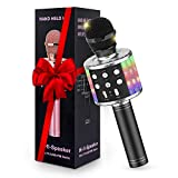 Karaoke Machine Microphone with Controllable LED Lights, Tesoky 4 in 1 Wireless Bluetooth Microphone for Adults Kids, Karaoke System Mic Hi-Fi Microphone Speaker with Singing, Recording Voice Changer