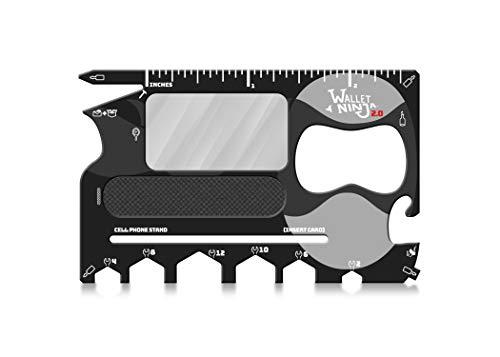 Wallet Ninja 2.0 20-in-1-Multifunktionswerkzeug, jetzt mit Spiegel + Nagelfeile, Schwarz)