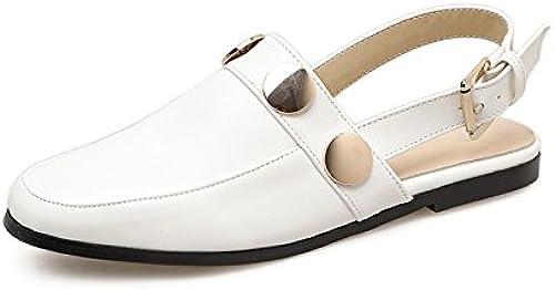 GTVERNH Rétro Baotou La Moitié Des Pantoufles Les Femmes Les Fonds Plats Les Chaussures Pour Femmes Des Paresseux Pantoufles En Métal En Boucle Summer Mode.