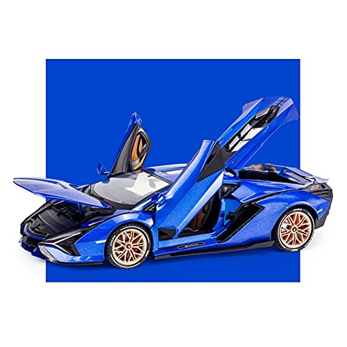 Kit Juguetes Coches Metal Resistente para Lamborghini SIAN FKP37 Sonido Y Luz 1: 18 Juguete Diecast Alloy Metal Car Model Collection Coche De Simulación Maravilloso Regalo (Color : Azul)