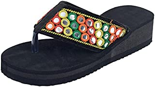 HD Rajasthani Wedges Flip Flop Slippers for Girls and Women