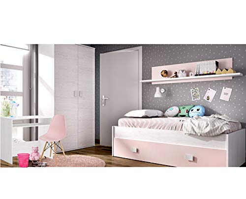 HABITMOBEL Composición Juvenil, Cama Nido con Estante + Escritorio y Armario Dormitorio