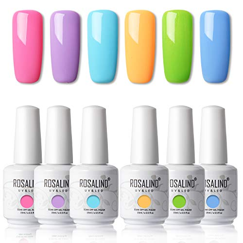 ROSALIND 15ml Esmaltes Semipermanentes de Uñas en Gel UV LED, kit de Esmalte de Uñas Summer Color 6pcs