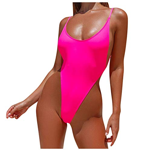 Lazzboy Badeanzug Damen Sexy Bauchweg Bikini Frauen Spleißen Push-up One Piece BH Beach Set Badebekleidung Einfarbiger Bademode Push Up Brazilian Tankinis S-XL (Pink,XL)