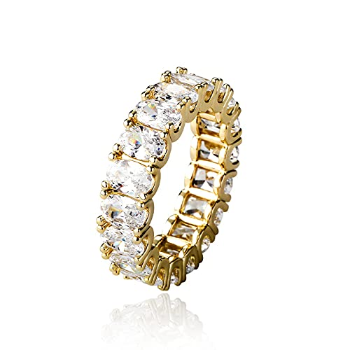 Anillos chapados en oro de 14 quilates con circonita cúbica ovalada, anillos apilables de 5 mm para mujer, anillos de oro para mujer, Cristal Metal Aleación, desconocido,