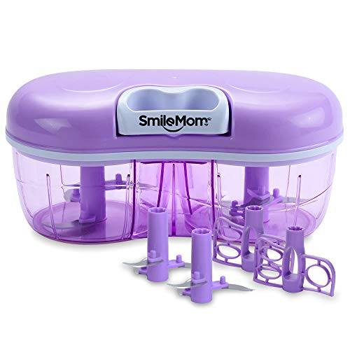 Smile Mom Twin Plastic Handy Vegetable Chopper, Cutter, Mixer Set for Kitchen, 4 Interchangeable Blade, Violet (1500 ML)