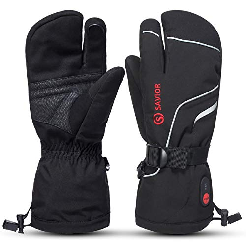 SAVIOR HEAT Heated Ski Mittens, Kids to Adult Unisex, Rechargeable Battery Operated Electric Heating Gloves(Black S66G, Small)