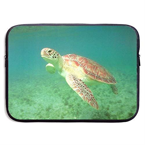 Turtle Green Sea Ocean Underwater Animal 13-15 Inch Laptop Sleeve Bag Portable Dual Zipper Case Cover Pouch Holder Pocket Tablet Bag,Water Resistant,Black