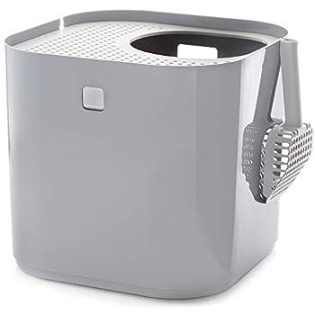 Modkat Bac à litière Top Entry - Réduit Le traçage et Les odeurs de la litière, Comprend Une cuillère et Une Doublure réutilisable - Gris