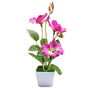 Casol Artificial Plant Potted Plant Size Overall Height 20cm Flowerpot Height 7cm Flowerpot Diameter 8cm Material Silk Flower for Home Office Garden Decoration (Purple Pansy)