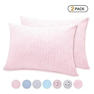 crib bedding and baby bedding organic cotton toddler pillowcase/travel pillowcase pack of 2 set 13x18 inches with envelope closure - hypoallergenic, soft & breathable baby pillow case cover pink stripe