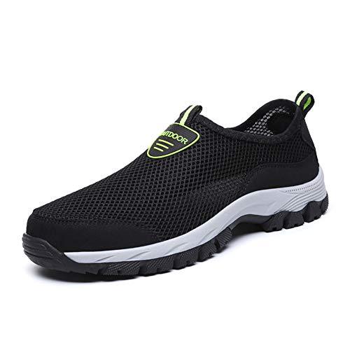 Zapatos Hombre de Agua Escarpines de Playa Descalzo de Malla Secado Rápido Sandalias Deporte Al Aire Libre Zapatillas Negro Gris Azul 39-49 Negro 45