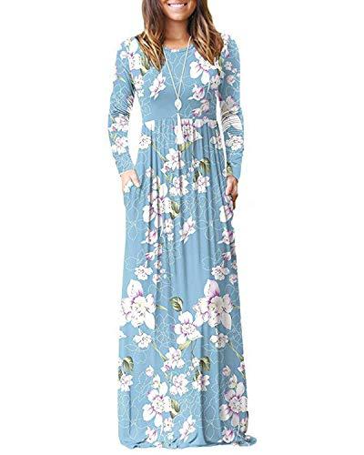 KidsformRobe Été Femme Robe Maxi Longue Chic Robe de Plage Imprimé Robe Tunique Bohême Grand Taille Manche Longue C-Lys Bleu XXL