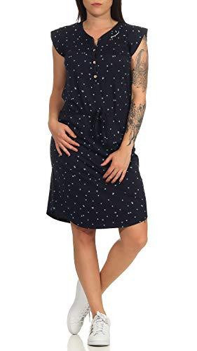 Ragwear ZOFKA Dress Organic Damen,Kleid,Blusenkleid,Sommerkleid,ärmellos,vegan,Knopfleiste,Brusttaschen,Tunnelzug,Navy,M