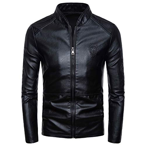 Gergeos Men's Casual Motorcycle Faux Leather Jacket Slim Fit Retro Stand Up Collar Coat M-4XL(Black,XXXXL)