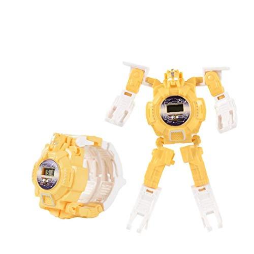 xiaocheng Relojes de los niños Deformación Reloj Digital electrónico con plástico Brazalete 2 en 1 Robot Relojes Juguetes innovadores del Reloj de Las Muchachas de los Amarillos Lindos Adornos