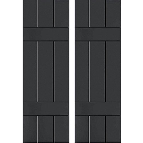 """Price comparison product image Ekena Millwork CWB12X034BLC Exterior Three Board Composite Wood Board-N-Batten Shutters with Installation Brackets (Per Pair),  Black,  12""""W x 34""""H"""