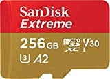 SanDisk 256GB Extreme MicroSDXC UHS-I Memory Card with Adapter - C10, U3, V30, 4K, A2, Micro SD - SDSQXA1-256G-GN6MA