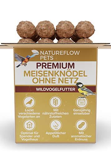 Meisenknödel ohne Netz - Premium Rezeptur mit Extra Körnern und Erdnuss - Plastikfreie Verpackung - Hochwertiges Wildvogelfutter für Ganzjährige Fütterung - 100 Stck Natureflow Futterknödel für Vögel