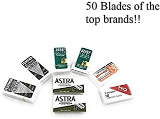 Sharpest and Highest Quality Variety Blade Pack Sampler Double Edge Safety Razor Blades Ultimate - 50 Blades! Perfect for Barber Shavette and Double Edge Razors Best Shaving Smooth face Sharp