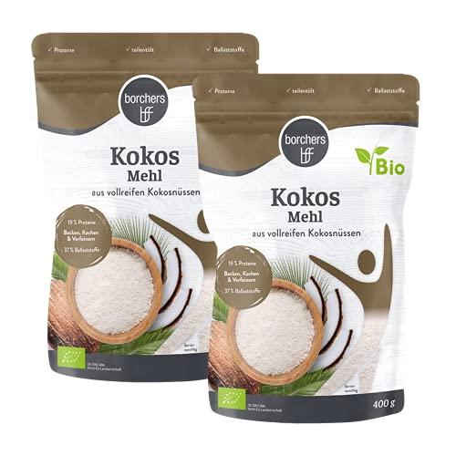 borchers Bio Premium kokosmeel, voor koken en bakken, vezelrijk, 2 x 400 g