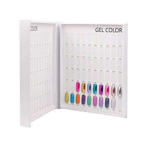Cartella colori per unghie, 120 colori professionali per smalti per gel Display Chart Book Cartella colori per smalti Suggerimenti falsi per unghie per la rappresentazione di arte del chiodo