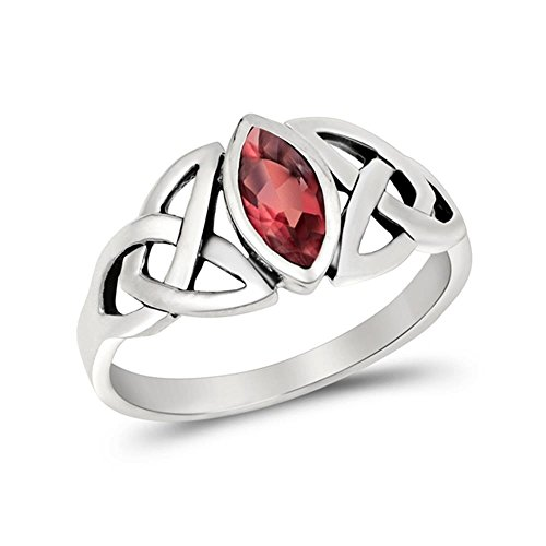 Glitzs Jewels Sterling Silver Simulated Ruby Celtic Design Ring, 9mm Choose Your Color