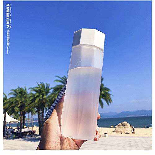 Cubierta de diamante Botella de agua esmerilada Hervidor de agua Taza portátil de plástico para viajes Yoga Correr Camping 380Ml