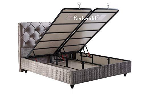 Bedworld Boxspring met Opbergruimte 160x200 cm - Bed met Opbergruimte - Met Matras - Grijs - Suna