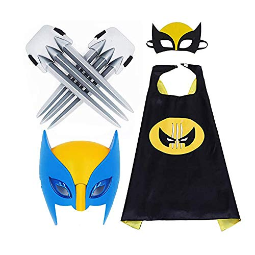 Juguetes de garras de Wolverine para nios, capa de dibujos animados y mscara luminosa, disfraces de disfraces para fiestas infantiles, accesorios de cosplay de garras largas de plstico para nios