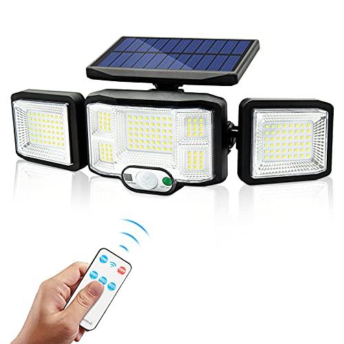 Fousômo Luces Solares para Exteriores LED Lampara Aplique Pared Exterior 3 Cabezas 192 LEDs Control Remoto Luz con Sensor de Movimiento IP65 Impermeable Iluminación de Seguridad Contra Inundaciones