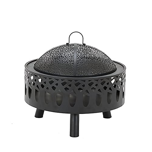 PWE-Chimenea De Leña para Patio Trasero con Parrilla De Cocina con La Pantalla De Chispa,Patio De Leña Firepit Bowl para Leña,Exterior,Fogatas,Calentador,con Tapa Protectora,Dark Black