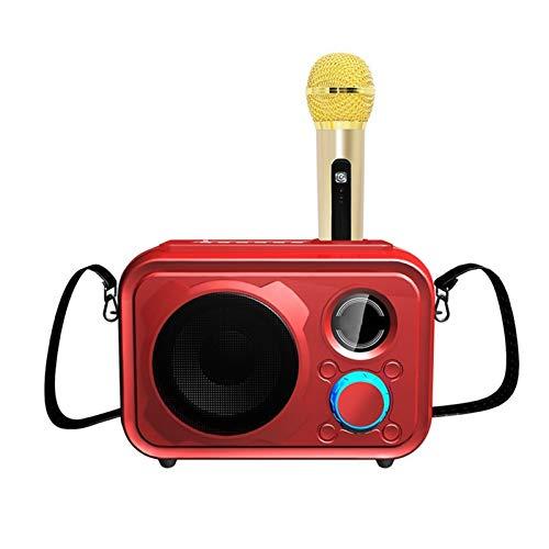 KJCHEN Altavoz Wireless Bluetooth Inicio Usuarios externos KTV Micrófono portátil Micrófono de Mano Teléfono móvil Audio Universal (Color : Red)