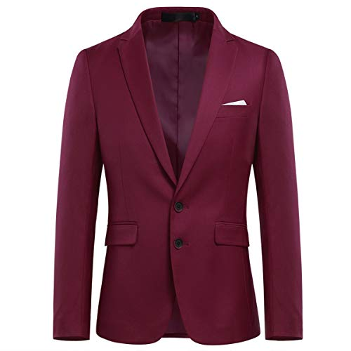 Allthemen Mens Slim Fit Casual Blazer 2 Buttons Formal Business Suit Jackets Single Breasted Wedding Tuxedo Smart Blazer Wine Red 3XL