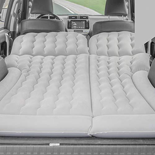 Cikonielf Colchón hinchable de PVC para asientos traseros de coche, con bomba de inflado, cama hinchable para cama individual, inflable, de camping, 174 x 126 cm (gris)
