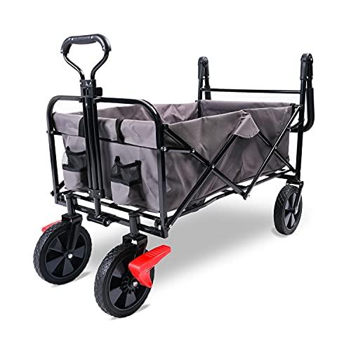 Carro plegable All Terrain, carro de jardín con puertas para pies, ruedas silenciosas, espacio de 90 litros, dirección de 360°, ruedas delanteras de color gris