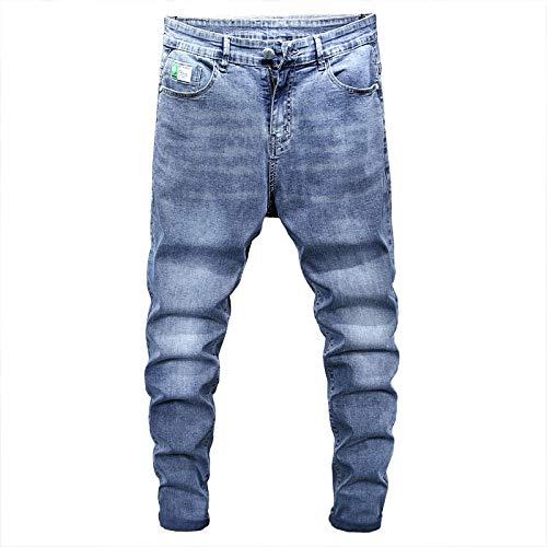 Pantalones Vaqueros para Hombre, Tendencia de Verano, Bordado elástico, Ajustado, nuevos Pantalones Vaqueros de Talla Grande, Vaqueros Harlan cónicos Casuales Rectos 44