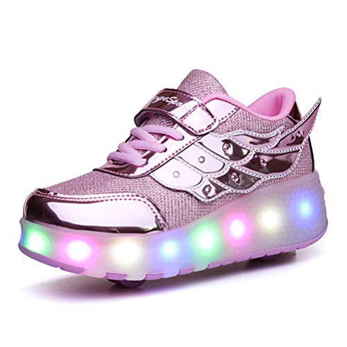 SRD-USB Recargable LED Luz Moda Aire Libre Parpadea Ajustable Rueda Roller Automática de Skate Zapatillas con Ruedas Zapatos Patines Deportes Zapatos Sneakers Running Shoes para Unisex Niños Niñas