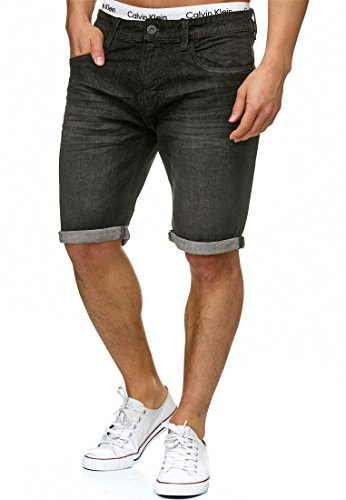 Indicode Herren Caden Jeans Shorts mit 5 Taschen aus 98% Baumwolle | Kurze Denim Stretch Hose Used Look Washed Destroyed Regular Fit Men Short Pants Freizeithose f. Männer Black L