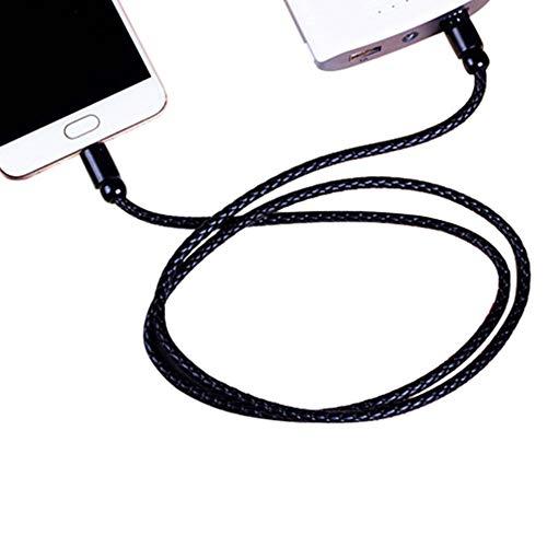 Romote Type C Leather Case Port de Charge Ligne de données USB par câble Flash Câble Andriod Bracelet Noir Type C