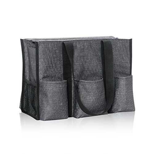 Thirty One Zip-Top Organizing Tote in Charcoal Crosshatch - No Monogram - 4451