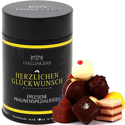 Hallingers 12 Pralinen handgemacht, mit/ohne Alkohol (150g) - Herzlichen Glückwunsch (Premiumdose) - Geburtstag & Glückwunsch 2021, Für Sie#Für Ihn
