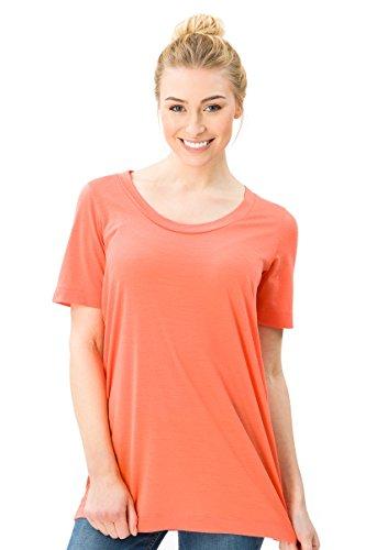 super. Natural W Oversize Femme en Laine mérinos T-Shirt M Orange