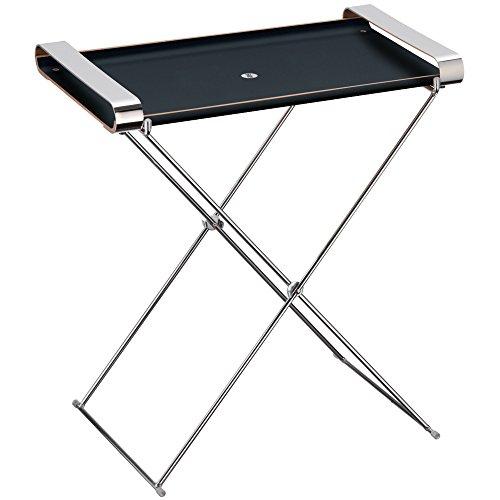 WMF Tablett mit Tragegriffen und Gestell Club Holz lackiert, Cromargan Edelstahl, 54 x 32 x 54 cm, schwarz