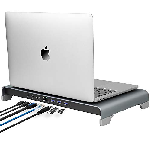VAYDEER Type-C Hub Laptop Stand 7 in 1 Aluminum Computer Stand with 4K HDMI, USB-C-PD, Type-C, 3xUSB 3.0, Gigabit Ethernet, Metal Laptop Stand Compatible with Mac MacBook Laptops up to 15.6'- Gray
