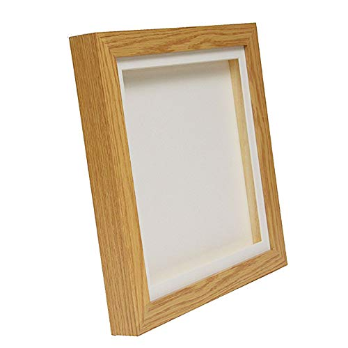 Oak Effect 3D Deep Box Picture Frame Display Memory Box For Medals Memorabilia Flowers etc (8x8