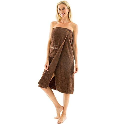 aqua-textil Wellness Saunakilt Damen 90 x 150 cm braun Baumwolle Saunasarong Frottee Kilt Langer Schnitt