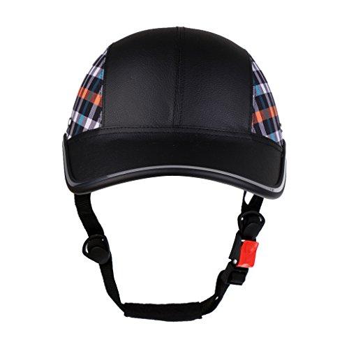 Toygogo Fahrradhelm Motorradhelm Baseball Cap Schutzhelme Tropenhelm Gepolsterte PU Hut Visier - Schwarz mit Muster