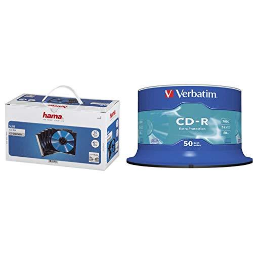 Hama CD Leerhüllen Schutzhülle (Slim Line, Höhe: 5mm, CD-Hüllen) 50er Pack, transparent-schwarz & Verbatim CD-R Extra Protection - 700 MB, 52-fache Brenngeschwindigkeit, 50er Pack Spindel